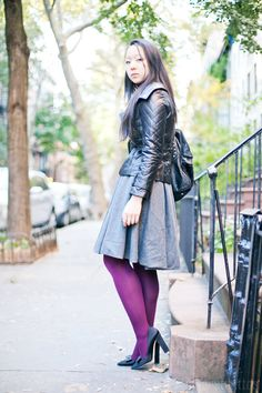 Colored tights and cinched waistline. #fashion #blog
