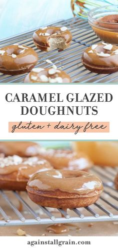 Enjoy these cake-like, gluten-free Caramel Glazed Doughnuts for breakfast or dessert. This dairy-free pastry will have your family coming back for seconds! Paleo Dessert, Dessert Recipes, Desserts, Gluten Free Donuts, Crohns, Dairy Free Recipes, Nut Free, Doughnuts, I Love Food