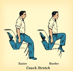 7 stretches to do after sitting all day. This looks like a gentler way to get into pigeon pose. Couch Training, Couch Workout, Boxing Workout, Gluteus Medius, Pigeon Pose, Art Of Manliness, Hip Openers, Back Exercises, Glute Exercises