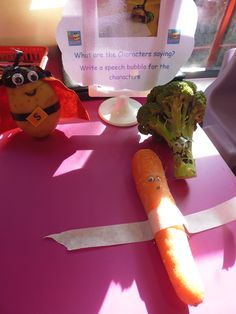 'Supertato' and 'Evil Pea' visit Willow Class! Primary School Teacher, Primary Teaching, Primary Education, Superhero School, Superhero Classroom, Snacks For Work, Healthy Work Snacks, Healthy Eating, Eyfs Activities