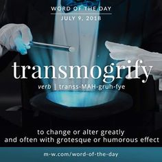 'Transmogrify' is the #wordoftheday.#language #merriamwebster #dictionary #wotd