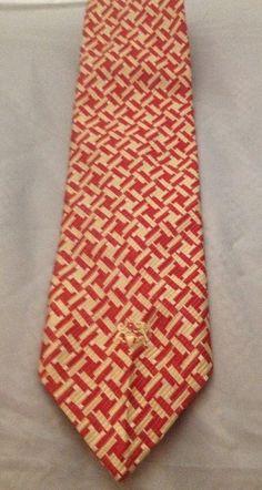Alessandro Originals All Silk Red Cream Multi Color Necktie Vintage  #Alessandro #Tie