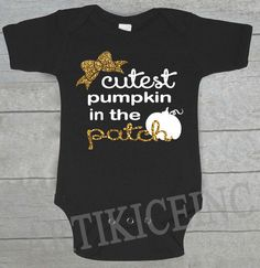 SALE Cutest Pumpkin in Patch Baby Onesie Newborn Black by ArtikIce