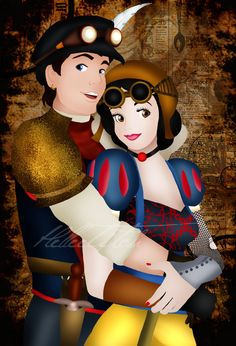 Steampunk Florian and Snow White by Hellee Titch Disney Princess Characters, Disney Princesses And Princes, Disney Movie Characters, Disney Crossovers, Disney Nerd, Disney Fan Art, Disney Love, Disney Play, Disney Artwork