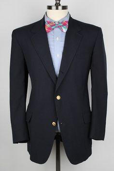 BROOKS BROTHERS Vtg Navy w/ Gold Gates Btns 42 R mens Sport Coat Blazer #BrooksBrothers #ThreeButton
