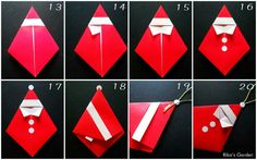 Xmas Crafts, Diy And Crafts, Paper Crafts, Christmas Origami, Origami Paper, Paper Cutting, Embellishments, Santa, Gifts