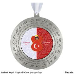 Turkish Angel Flag Red White Round Pewter Christmas Ornament