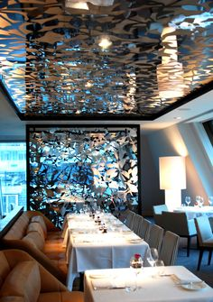 Grace & Webb laser cut ceiling and screens at South Place Hotel, London