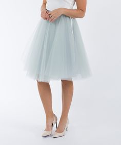 Take a look at this Space 46 Boutique Dove Gray Signature Tulle Skirt today!
