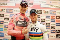 Taylor Phinney and Mark Cavendish started and ended the day shaking hands, this time at the post-stage press conference, Giro d'Italia 2012