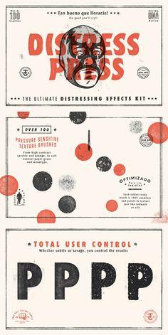Distress Press Brush & Action Kit on Inspirationde Web Design, Book Design, Layout Design, Design Art, Print Design, Type Design, Banner Design, Graphic Design Branding, Graphic Design Posters