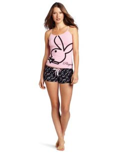 Amazon.com: Playboy Women's Rabbit Head Screened Tank Top And Printed Playmate Short Set, Pink, Large: Clothing