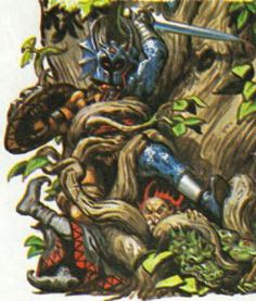 Warduke, Kelek, and their lizardfolk minions entangled by the druid Filaree, as depicted in The Forest of Enchantment (1983). Art by Earl Norem.