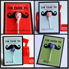 mustache diy valentine cards ~ 'i hope you have a fan(tache)tic valentines day ~ free printable from plumadorable.com
