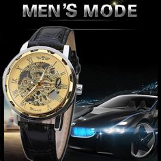11.13$  Watch here - http://aliyjp.shopchina.info/1/go.php?t=32790369399 - 2016 Luxury pu leather Band automatic Mechanical Skeleton Watch For Men Fashion Gear Wrist Watch Reloj Army Hombre Horloge 11.13$ #buyonline
