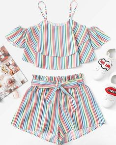 Fashion Kids Baby Girls Stripe Off Shoulder Tops Shorts Pants Outfit Clothes Set Toddler Girl Outfits baby clothes Fashion Girls kids outfit Pants set Shorts Shoulder Stripe Tops Teen Fashion Outfits, Fashion Kids, Kids Outfits, Summer Outfits, Summer Shorts, Work Outfits, Fashion Clothes, Pants Outfit, Outfit Sets