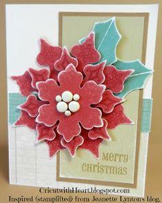 Cricut with Heart: Poinsettia Card- Art Philosophy Cricut Christmas Cards, Cricut Cards, Xmas Cards, Stampin Up Cards, Poinsettia Cards, Christmas Poinsettia, Winter Christmas, Christmas Ideas, Christmas Time