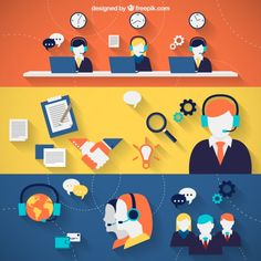 Call Center Banners Free Vector