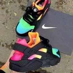 Nike Shoes OFF!> pitch-black-custom-nike-air-huarache-x-rainbow-eyeconicwear Nike Air Huarache, Nike Huarache Women, Jordan Shoes Girls, Girls Shoes, Ladies Shoes, Cute Sneakers, Shoes Sneakers, Colorful Sneakers, Colorful Nike Shoes