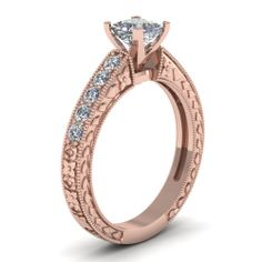 Princess Cut Diamond Engagement Rings With White Diamond In 18K Rose Gold | Carved Floret Ring | Fascinating Diamonds