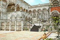 The Old Courtyard - Neoclassical Architecture. Artwork for the home, interior design, home decor. The Old Courtyard Fine Art Prints, Framed Prints, Canvas Prints, Greeting Cards, iPhone Cases, Galaxy S4 cases and Posters for Sale.