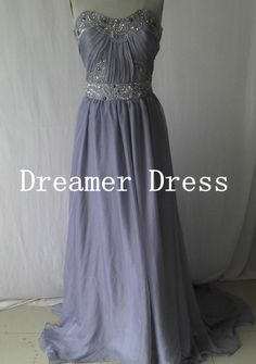 Grey Prom Dress Sweetheart Long Evening Dress Party Dress Elegant Grey Evening Dress Floor Length Beaded Homecoming Dress on Etsy, $128.00