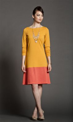 Custom Sunshine Color Block Dress - Exclusive tangerine