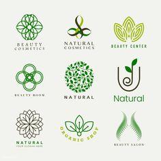 premium illustration of Set of natural cosmetics logo vector Set of natural cosmetics logo vector Cosmetic Logo, Logo Biologique, Ideas Para Logos, Web Design, Graphic Design, Vector Design, Organic Logo, Leaf Logo, Foto Art
