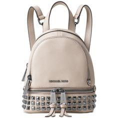 Michael Michael Kors Rhea Zip Mini Pyramid Stud Messenger Backpack ($97) ❤ liked on Polyvore featuring bags, backpacks, cement, mini backpacks, michael kors bags, michael kors backpack, michael kors and day pack backpack