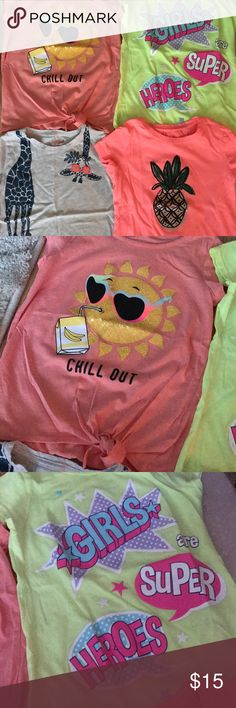 4 girls t- shirts! Worn once!! Excellent condition Orange chill out shirt and bright yellow shirt are from Children's Place size 7/8. Bottom 2 are Cat & Jack by Target size 6/6X. Excellent condition!! Shirts & Tops Tees - Short Sleeve