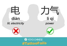 "Chinese tattoo tip! If you want ""power"" or ""strength"", choose 力气 (lì qi) instead of 电 (diàn)...unless you really like electricity!  More Chinese tattoo tips on our Chinese culture and language blog here!"