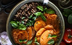 5 Alternatives to Frying Food That Taste Great! Vegan recipes included. Pictured: Steamed Sweet Potatoes with Wild Rice, Basil and Tomato Chili Sauce.