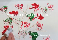 Apple Tree Scrunch Art by Teach Preschool