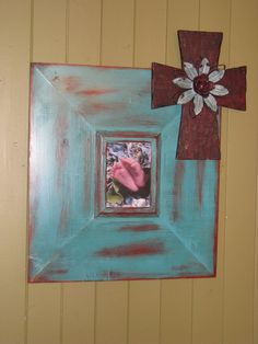 Shabby chic, rustic, junk gypsy chic, home decor,turquoise cross picture frame. $59.95, via Etsy.