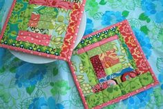 Potholders made from lots of great scraps.