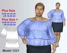Tunic Plus size Sewing Pattern PDF, Women's Plus sizes 18-28