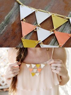 Golden Geometric Necklace #DIY Modge podge the paint chips first?