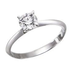GIA Certified 14k white-gold Round Cut Diamond Engagement Ring (0.60 cttw, D Color, VS1 Clarity)