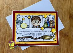 Handmade card for Harry Potter fans, with Bugaboo Stamps. Harry Potter Birthday Cards, Harry Potter Cards, Harry Potter Gifts, Harry Potter Theme, Handmade Birthday Cards, Handmade Cards, 9th Birthday, Kids Cards, Card Making