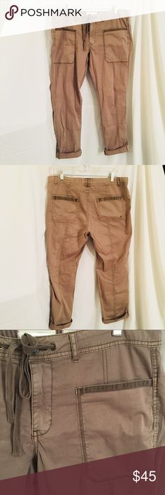 Anthropologie Hei Khaki Cargo Pants Size 30 Cuffs with buttons at the bottom. Drawstring at waist. Relaxed fit. Anthropologie Pants Ankle & Cropped