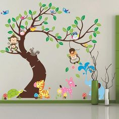 large Cartoon monkey tree green leaf  Forest Animals Wall Stickers Home Decoration for Kids Rooms kindergarten Wallpaper ZY1214