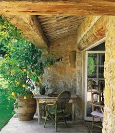 "Lemon trees in pots and stone and giant exposed beams and ""yay!"" for Provence."