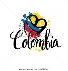 Hand lettering logo with watercolor elements. Vector illustration independence day of Colombia: compre este vector en Shutterstock y encuentre otras imágenes.