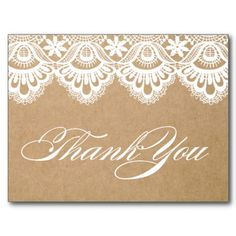 RUSTIC LACE | WEDDING THANK YOU POST CARD #wedding