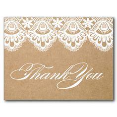 RUSTIC LACE | WEDDING THANK YOU POST CARD #wedding