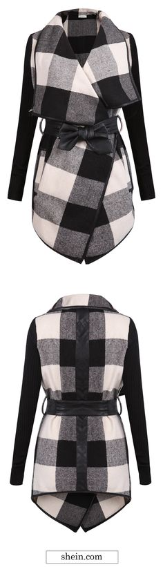 Black White Plaid Belt wrapped Coat. Warm & stylish coat with 40% off from shien.com!