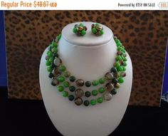 Cyber Monday Sale Vintage Green Lucite Demi Parure 1950's 1960's Signed Japan Collectible Necklace Earring Set Mad Men Mod Retro Chunky Wide by MartiniMermaid on Etsy https://www.etsy.com/listing/207568035/cyber-monday-sale-vintage-green-lucite