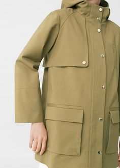 Cotton-blend fabric Hood Patch pockets Concealed zip and button fastening Press stud fastening Inner lining Military Jacket Women, Military Looks, Parka, Designs For Dresses, Women Lifestyle, Jacket Pattern, Outerwear Women, Fashion Outlet, Hooded Jacket