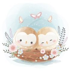 Vintage Clipart, Animal Z, Cute Cartoon Drawings, Cute Love Cartoons, Birthday Gifts For Best Friend, Chibi, Flower Backgrounds, Cute Images, Baby Prints