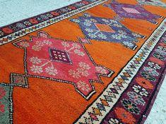 Large Caucasian Pattern Persian Rug Runner Vintage Handwoven